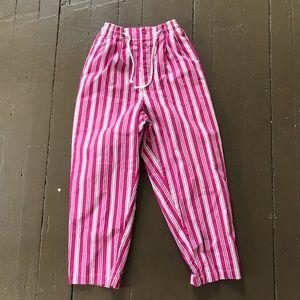 90s GAP pink striped beach pants w draw string